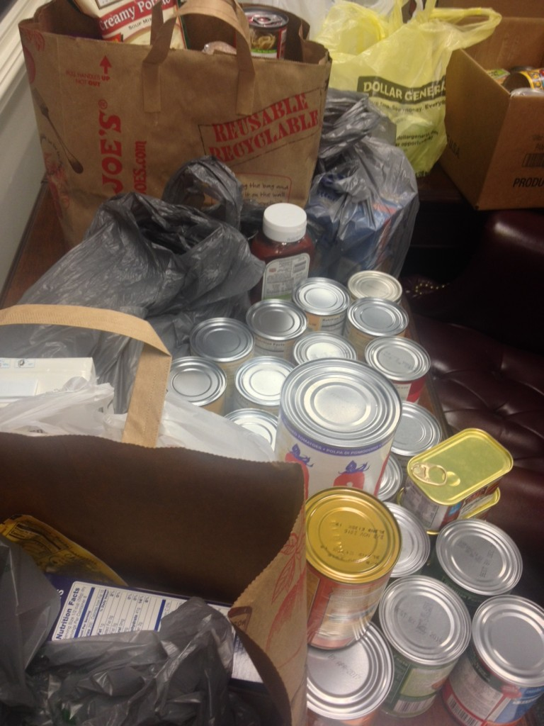 Some of the food donations given by the Wells Insurance team